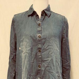 J Jill JJill Denim Button Down Shirt M long Sleeve